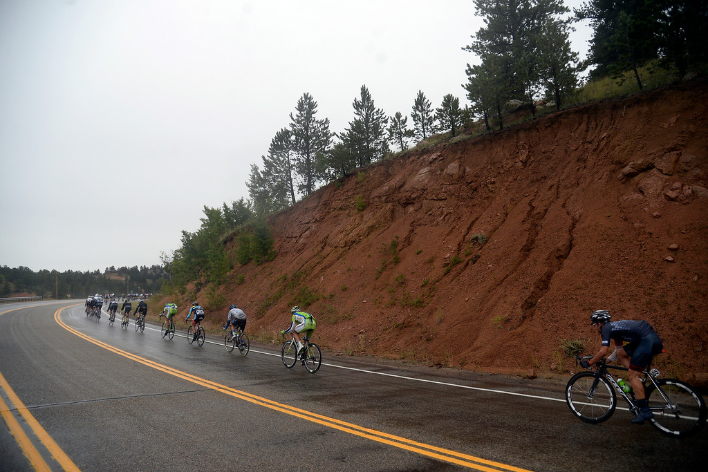 . BRECKENRIDGE, CO - AUGUST 22: Rain fell steadily on the riders throughout the day during stage 5. The USA Pro Challenge stage 5 on Friday, August 22, 2014. (Photo by AAron Ontiveroz/The Denver Post)