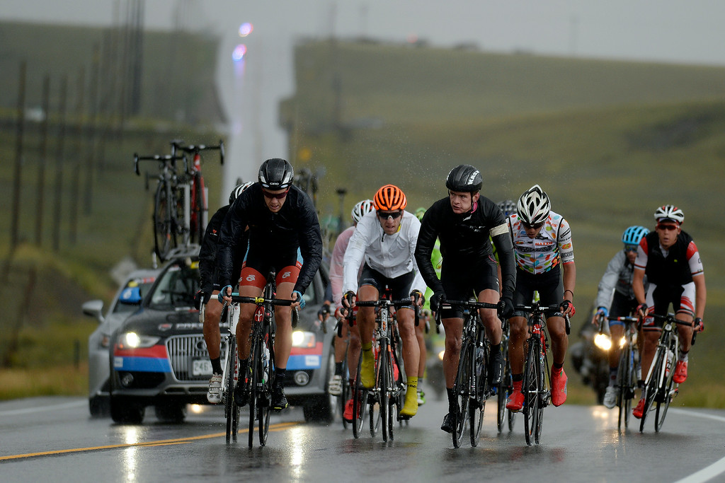 . BRECKENRIDGE, CO - AUGUST 22: Riders make their way up an incline during stage 5. The USA Pro Challenge stage 5 on Friday, August 22, 2014. (Photo by AAron Ontiveroz/The Denver Post)