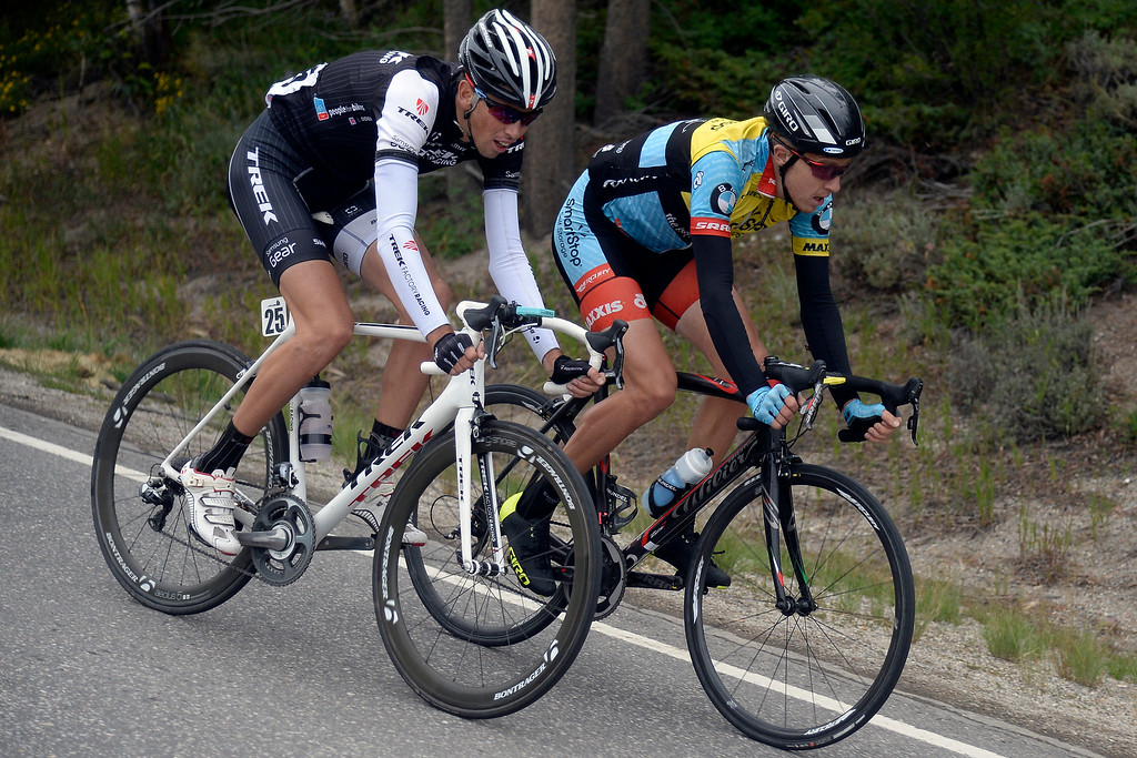. BRECKENRIDGE, CO - AUGUST 22: Laurent Didier (left) and Rob Britton battle for the lead late in stage 5.  The USA Pro Challenge stage 5 on Friday, August 22, 2014. (Photo by AAron Ontiveroz/The Denver Post)