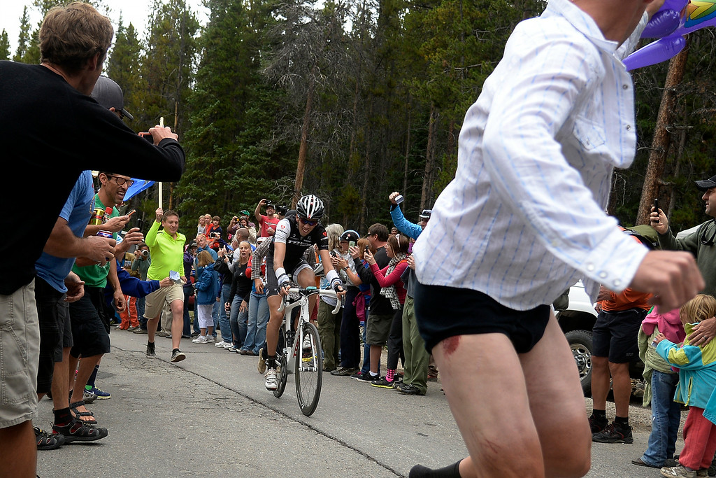 . BRECKENRIDGE, CO - AUGUST 22: Laurent Didier makes his way towards the finish line during stage 5. The USA Pro Challenge stage 5 on Friday, August 22, 2014. (Photo by AAron Ontiveroz/The Denver Post)