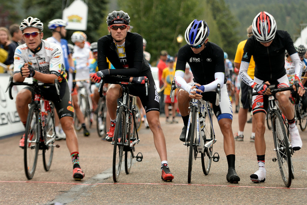 . BRECKENRIDGE, CO - AUGUST 22: Second from left: Tejay van GarderenThe USA Pro Challenge stage 5 on Friday, August 22, 2014. (Photo by AAron Ontiveroz/The Denver Post)