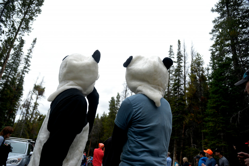 . BRECKENRIDGE, CO - AUGUST 22: Two grown men in panda costumes wait for the riders to pass during stage 5. The USA Pro Challenge stage 5 on Friday, August 22, 2014. (Photo by AAron Ontiveroz/The Denver Post)