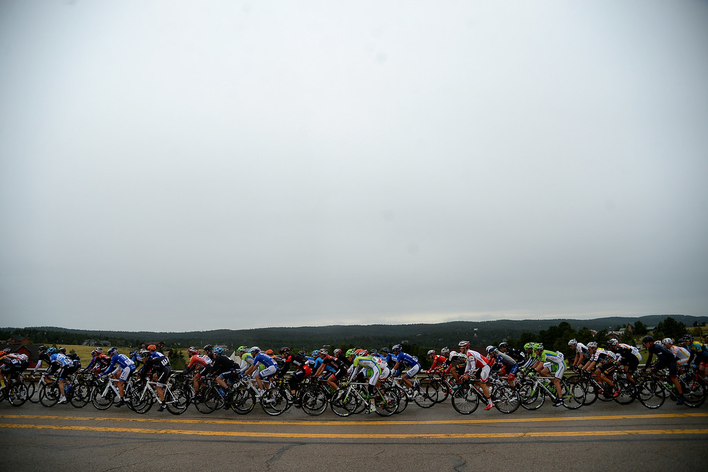 . BRECKENRIDGE, CO - AUGUST 22: Riders hit the open road in the early goings of stage 5. The USA Pro Challenge stage 5 on Friday, August 22, 2014. (Photo by AAron Ontiveroz/The Denver Post)