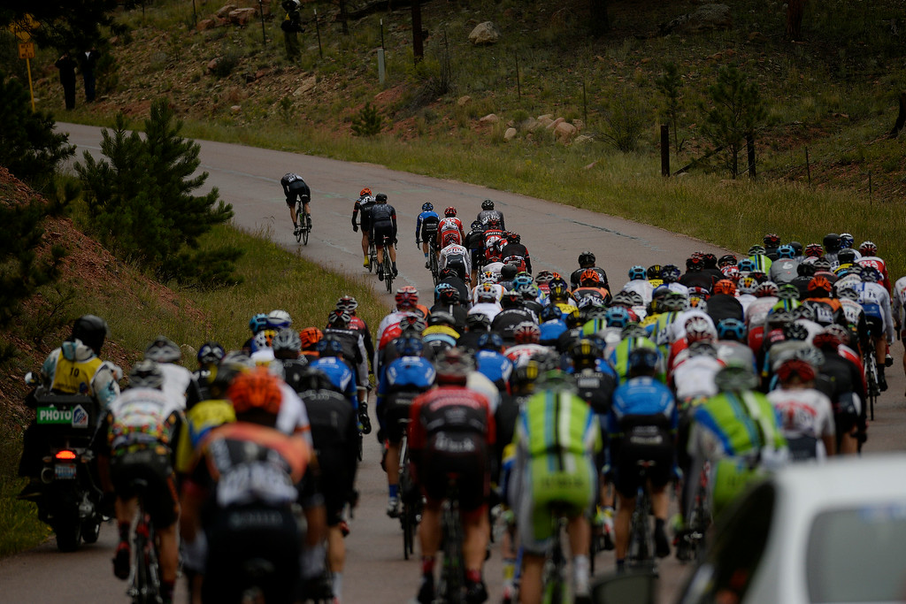 . BRECKENRIDGE, CO - AUGUST 22: Dion Smith makes a small break from the pack during stage 5. The USA Pro Challenge stage 5 on Friday, August 22, 2014. (Photo by AAron Ontiveroz/The Denver Post)