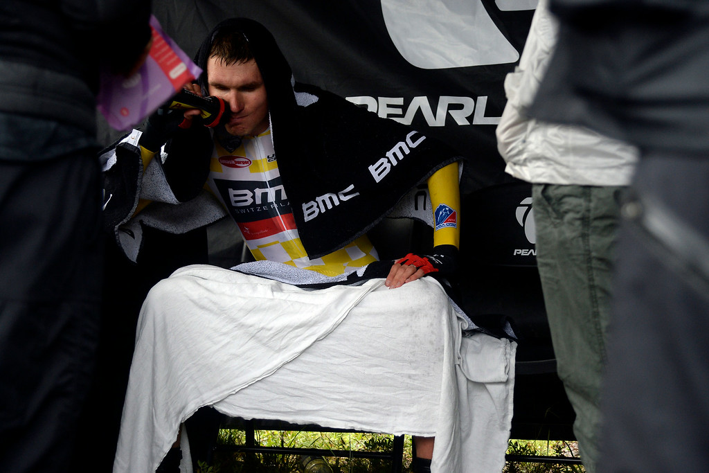 . VAIL, CO - AUGUST 23: Tejay van Garderen finishes stage 6. The USA Pro Challenge stage 6 time trial on Saturday, August 23, 2014. (Photo by AAron Ontiveroz/The Denver Post)