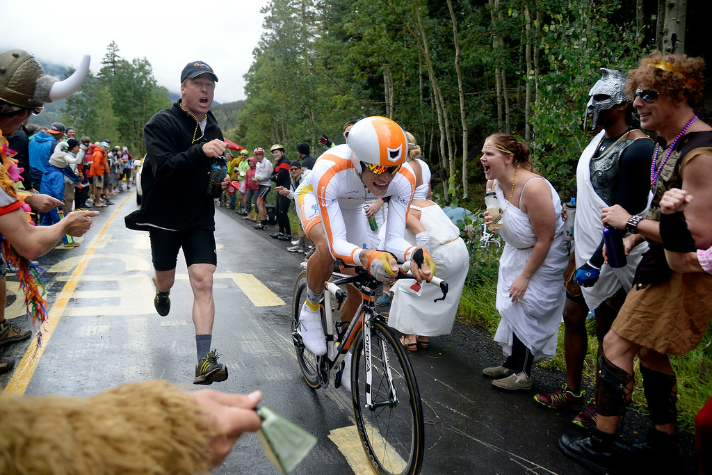 . VAIL, CO - AUGUST 23: Fans cheer on Charles Planet during stage 6. The USA Pro Challenge stage 6 time trial on Saturday, August 23, 2014. (Photo by AAron Ontiveroz/The Denver Post)