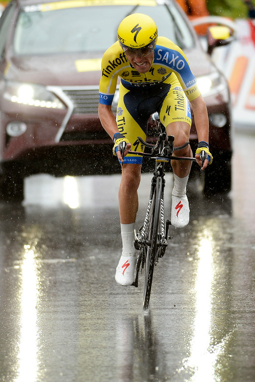 . VAIL, CO - AUGUST 23: Fafel Majka finishes stage 6. The USA Pro Challenge stage 6 time trial on Saturday, August 23, 2014. (Photo by AAron Ontiveroz/The Denver Post)