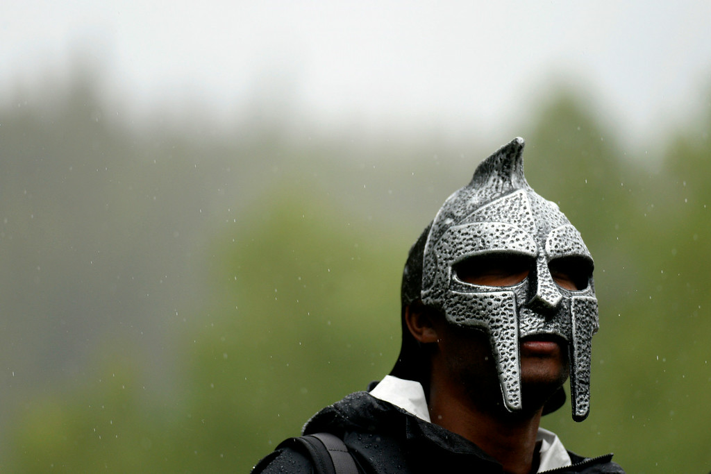 . VAIL, CO - AUGUST 23: Chris Brown wears a battle mask during stage 6. The USA Pro Challenge stage 6 time trial on Saturday, August 23, 2014. (Photo by AAron Ontiveroz/The Denver Post)