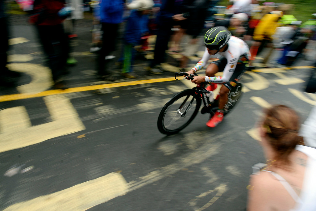 . VAIL, CO - AUGUST 23: Fans cheer on Luis Enrique Davila during stage 6. The USA Pro Challenge stage 6 time trial on Saturday, August 23, 2014. (Photo by AAron Ontiveroz/The Denver Post)
