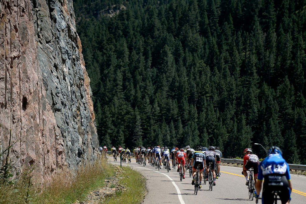 . Riders descend Lookout Mountain during stage 7. The USA Pro Challenge stage 7 on Sunday, August 24, 2014. (Photo by AAron Ontiveroz/The Denver Post)