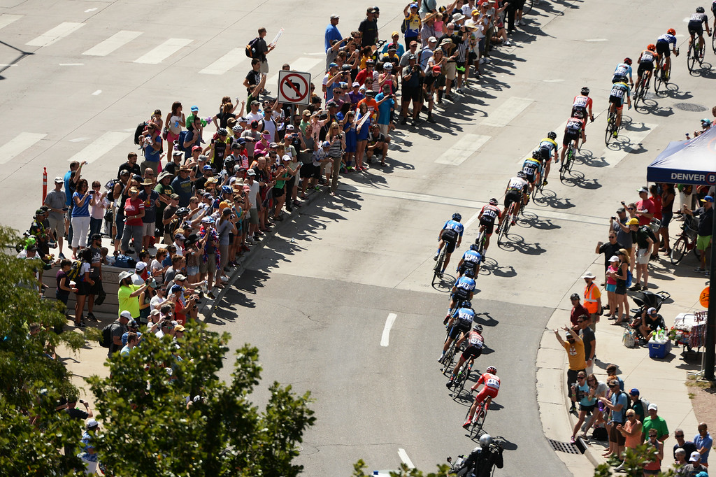 . Cyclists compete in the race in downtown Denver during Stage 7 of the 2014 USA Pro Cycle Challenge on Sunday, August 24, 2014.  (Photo By Hyoung Chang/The Denver Post)