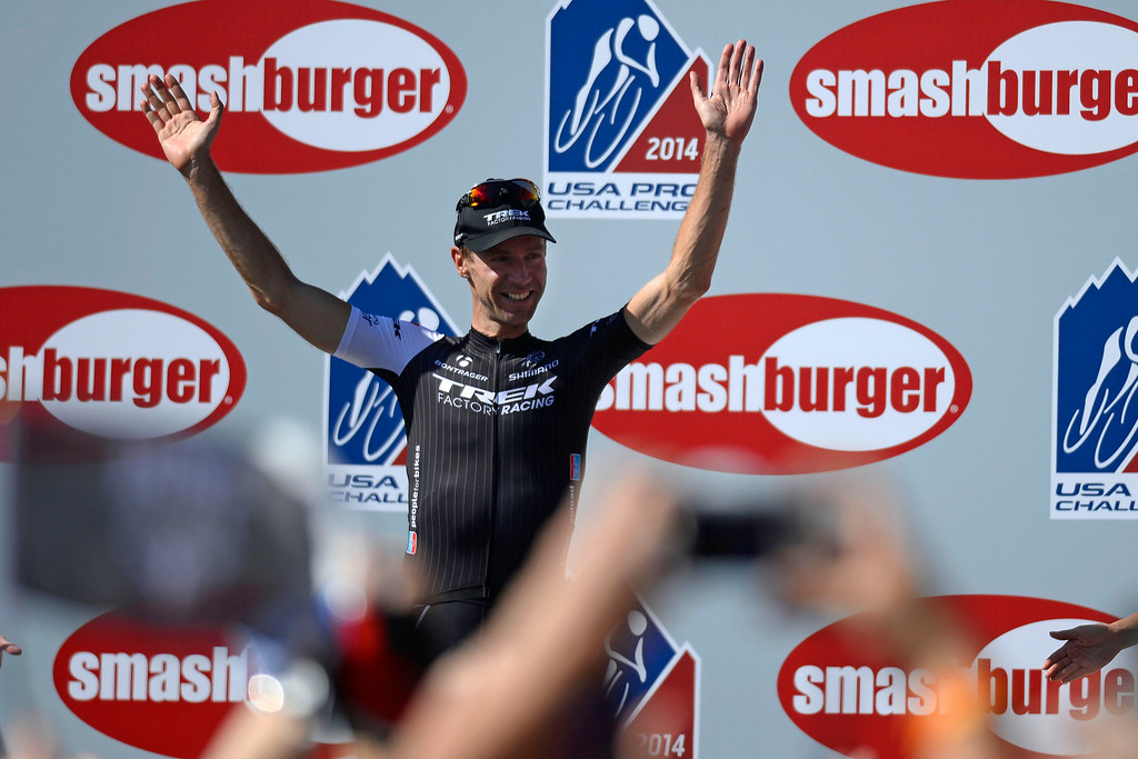. Jens Voigt waves to the crowd after completing his final USA Pro Challenge upon completing stage 7. The USA Pro Challenge stage 6 time trial on Saturday, August 23, 2014. (Photo by AAron Ontiveroz/The Denver Post)