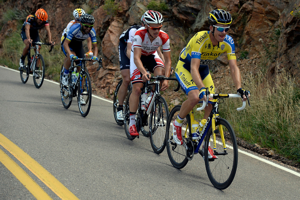 . Michael Rogers leads the pack up Lookout Mountain during stage 7. The USA Pro Challenge stage 7 on Sunday, August 24, 2014. (Photo by AAron Ontiveroz/The Denver Post)
