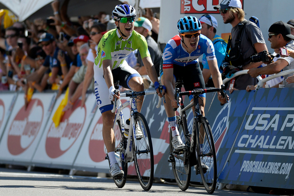 . Eventual stage winner Alex Howes (right) and Kiel Reijnen battle for the win as they approach a photo finish during stage 7. The USA Pro Challenge stage 6 time trial on Saturday, August 23, 2014. (Photo by AAron Ontiveroz/The Denver Post)