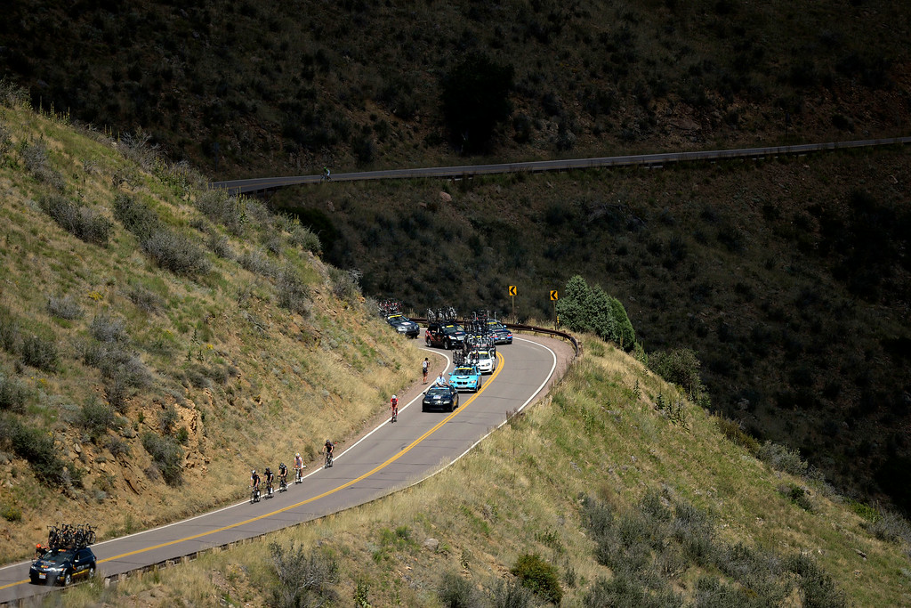 . Riders climb Lookout Mountain during stage 7. The USA Pro Challenge stage 7 on Sunday, August 24, 2014. (Photo by AAron Ontiveroz/The Denver Post)