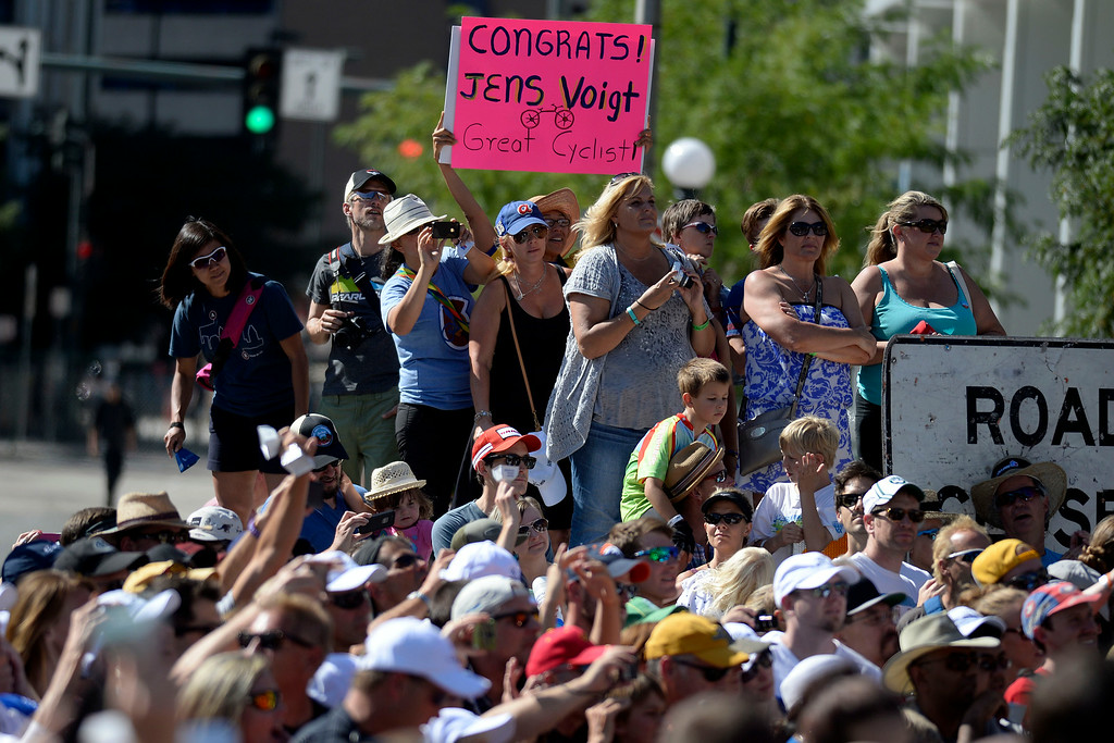 . Fans cheer for Jens Voigt who completed his final USA Pro Challenge. The USA Pro Challenge stage 6 time trial on Saturday, August 23, 2014. (Photo by AAron Ontiveroz/The Denver Post)