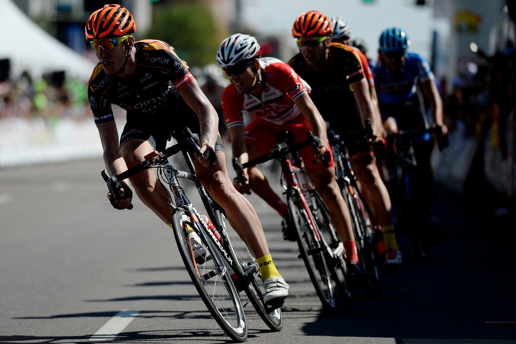 . Tom Zirbel leads a small pack into the final lap during stage 7. The USA Pro Challenge stage 7 on Sunday, August 24, 2014. (Photo by AAron Ontiveroz/The Denver Post)