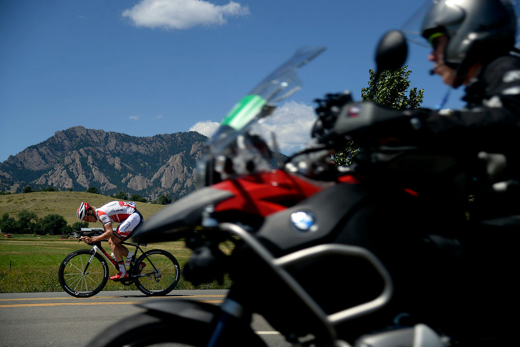 . Ruben Zepuntke leads the pack down CO-93 during the early parts of stage 7. The USA Pro Challenge stage 7 on Sunday, August 24, 2014. (Photo by AAron Ontiveroz/The Denver Post)
