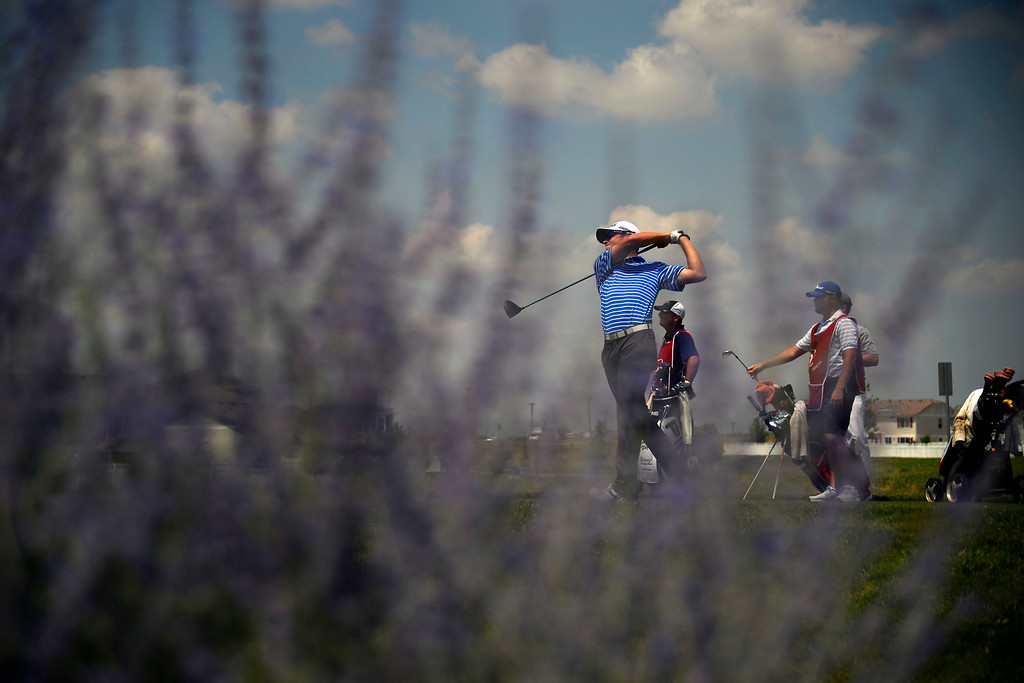 . Brandon Hagy tees off with the lead group during the Colorado Open.   (Photo by AAron Ontiveroz/The Denver Post)