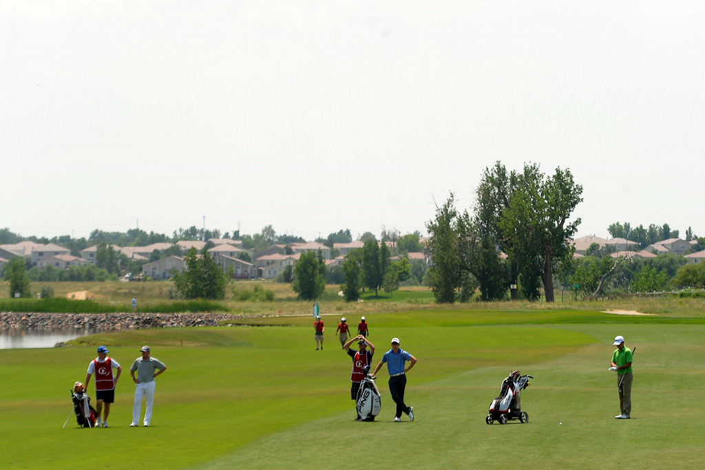 . The lead group consisting of (from left to right) Ian Davis, Brandon Hagy and Chris Ward play the back nine during the Colorado Open.  (Photo by AAron Ontiveroz/The Denver Post)