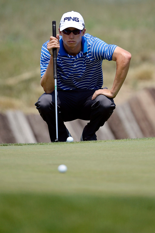 . Brandon Hagy lines up a putt on the back nine during the Colorado Open.  (Photo by AAron Ontiveroz/The Denver Post)