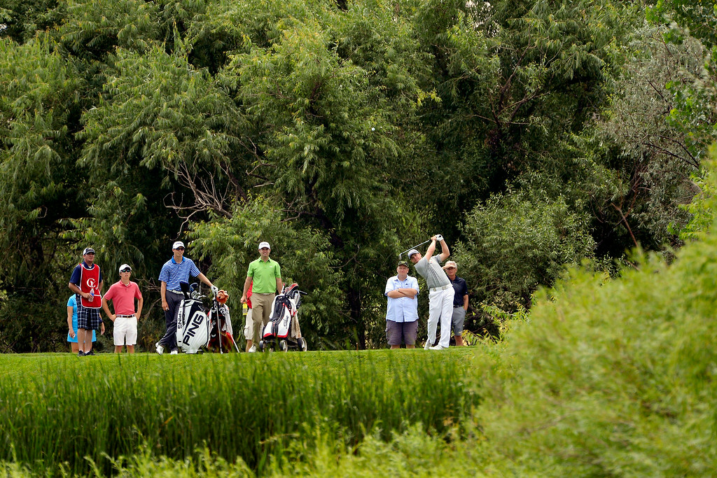 . Champion Ian Davis hits his tee shot on 10 during the Colorado Open.  (Photo by AAron Ontiveroz/The Denver Post)