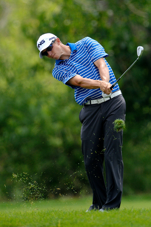 . Brandon Hagy hits an approach on 10 during the Colorado Open.   (Photo by AAron Ontiveroz/The Denver Post)