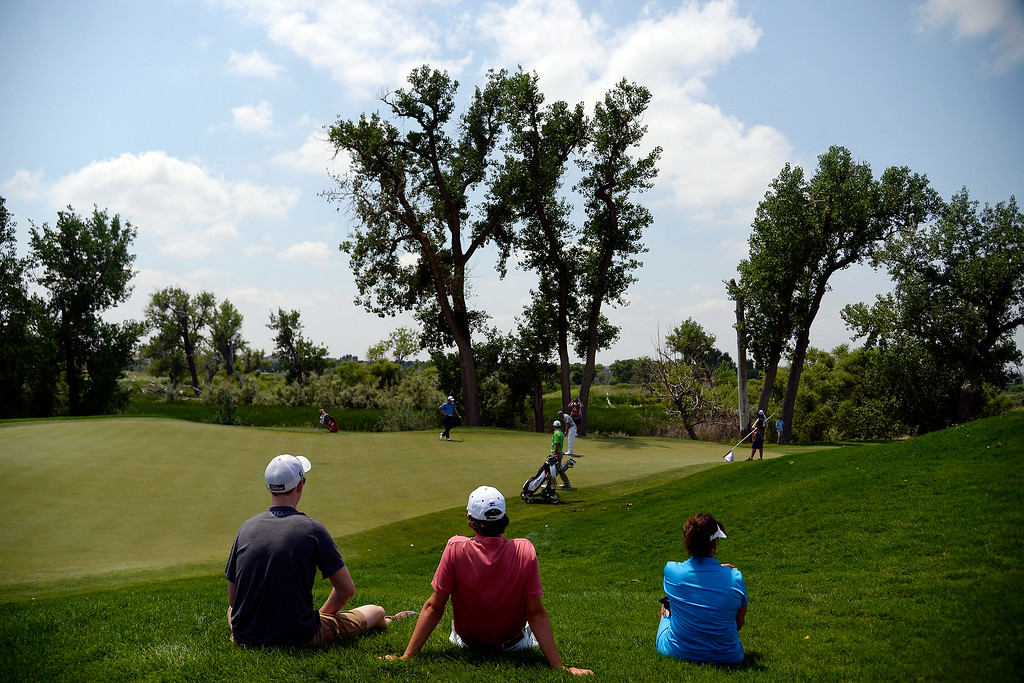 . Fans watch as the lead group plays the back nine during the Colorado Open.  (Photo by AAron Ontiveroz/The Denver Post)