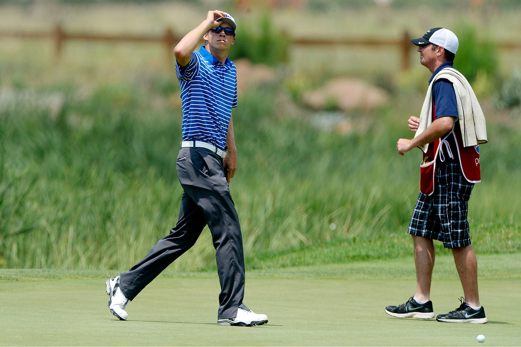 . Brandon Hagy reacts to his play on the back nine during the Colorado Open.   (Photo by AAron Ontiveroz/The Denver Post)
