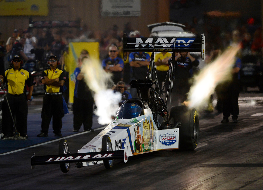 . MORRISON, CO - JULY 19: NHRA Top Fuel drag racer, Brandon Bernstein, takes off the line during qualifying at the Mopar Mile-High Nationals Friday evening at Bandimere Speedway, July 19, 2013.  (Photo By Andy Cross/The Denver Post)