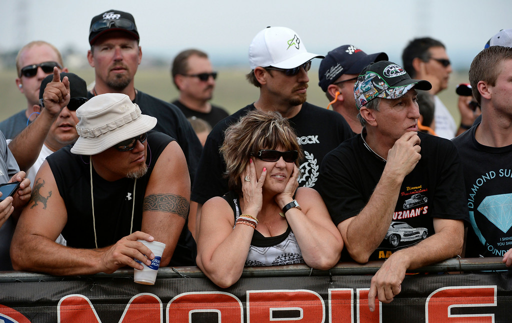 . MORRISON, CO. - JULY 18:  NHRA fans line the start area Friday evening, July 18, 2014 for the 2014 Mopar Mile High NHRA Nationals at Bandimere Speedway. (Photo By Andy Cross / The Denver Post)
