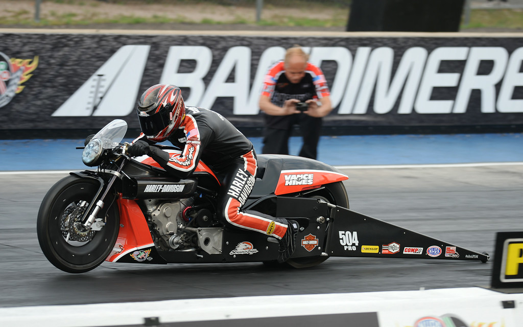 . MORRISON, CO - JULY 19: Pro Stock Motorcycle racer Andrew Hines is in action during Mopar Mile-High NHRA Nationals at Bandimere Speedway. Morrison, Colorado. July 19. 2014. (Photo by Hyoung Chang/The Denver Post)