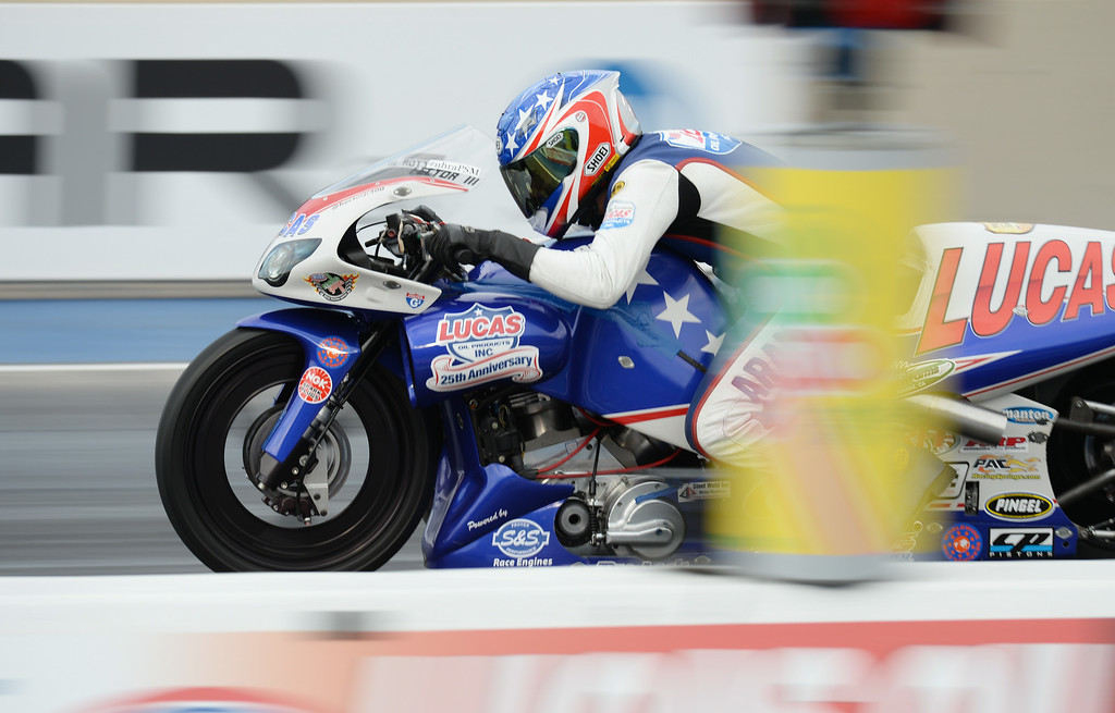 . MORRISON, CO - JULY 19: Pro Stock Motorcycle racer Hector Arana Jr. is in action during Mopar Mile-High NHRA Nationals at Bandimere Speedway. Morrison, Colorado. July 19. 2014. (Photo by Hyoung Chang/The Denver Post)