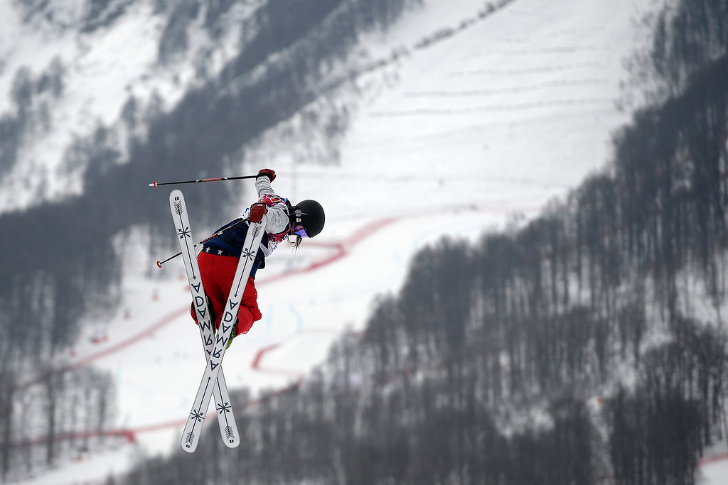 . U.S. skier Devin Logan backs a backside grab during the women\'s ski slopestyle final on Tuesday, February 11, 2014. (Photo by AAron Ontiveroz/The Denver Post)