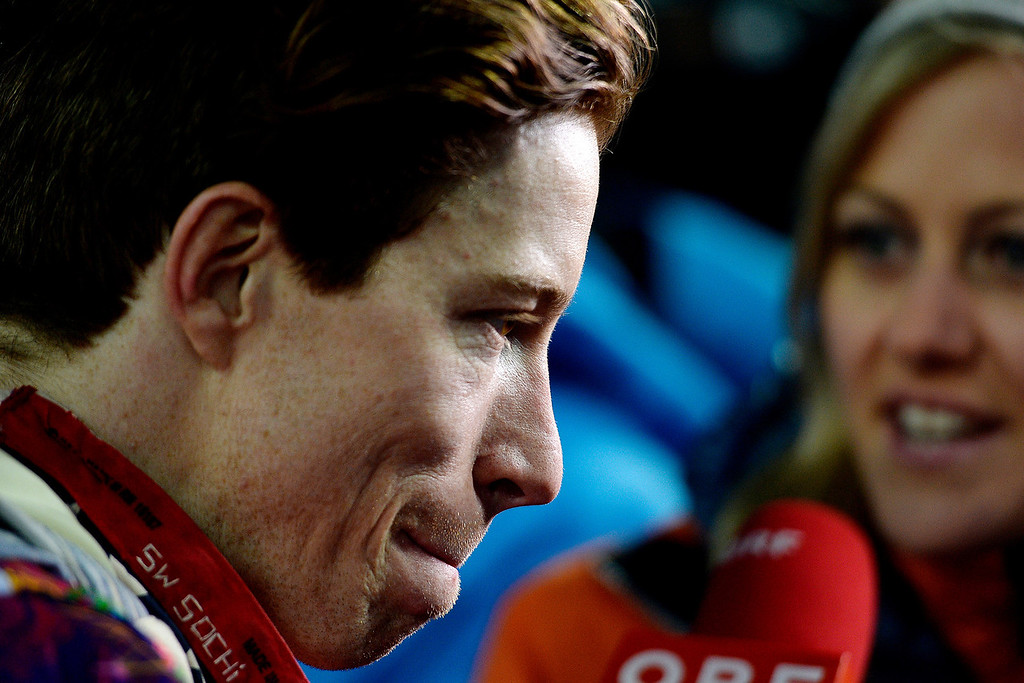. Two-time defending gold medalist Shaun White reacts to finishing fourth -- Switzerland\'s Iouri Podladchikov won the event -- after the men\'s snowboard halfpipe final at the Sochi 2014 Winter Olympics on Tuesday, February 11, 2014. (Photo by AAron Ontiveroz/The Denver Post)