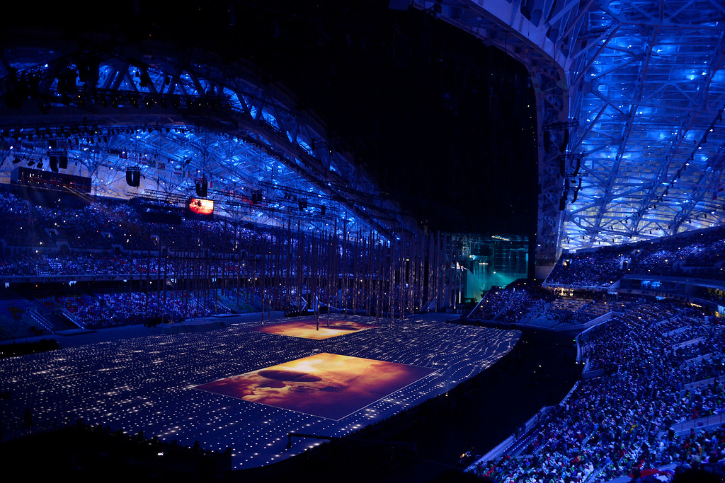 . The stadium is lit blue during closing ceremony for the Sochi 2014 Winter Olympics. Sochi 2014 Winter Olympics on Sunday, February 23, 2014 at Fisht Olympic Stadium. (Photo by AAron Ontiveroz/ The Denver Post)