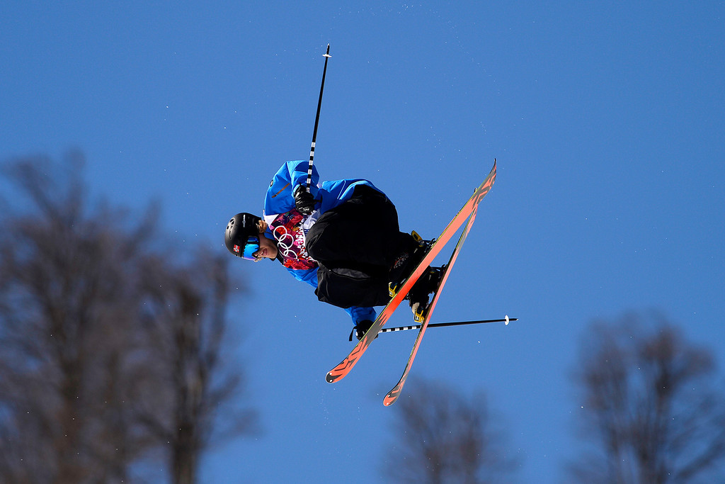 . Norway\'s Aleksander Aurdal makes a jump during the men\'s ski slopestyle final at the Rosa Khutor Extreme Park. Sochi 2014 Winter Olympics on Thursday, February 13, 2014. (Photo by AAron Ontiveroz/The Denver Post)