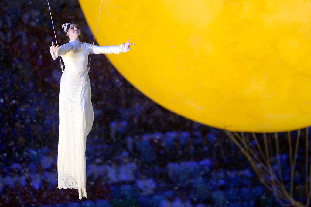 . A performer is suspended by cables during closing ceremony for the Sochi 2014 Winter Olympics. Sochi 2014 Winter Olympics on Sunday, February 23, 2014 at Fisht Olympic Stadium. (Photo by AAron Ontiveroz/ The Denver Post)