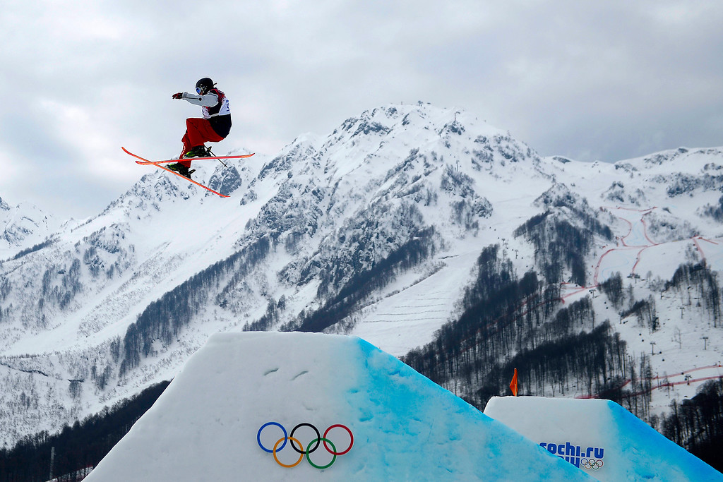 . U.S. skier Julia Krass jumps during the women\'s ski slopestyle final at the Sochi 2014 Winter Olympics on Tuesday, February 11, 2014. (Photo by AAron Ontiveroz/The Denver Post)