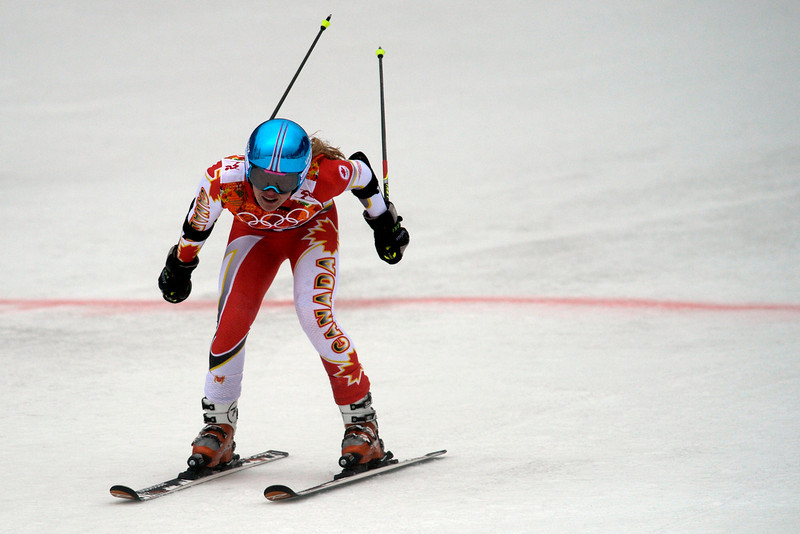 . Canada\'s Erin Mielzynski finishes her run during the first round of the ladies\' giant slalom. Sochi 2014 Winter Olympics on Tuesday, February 18, 2014. (Photo by AAron Ontiveroz/The Denver Post)