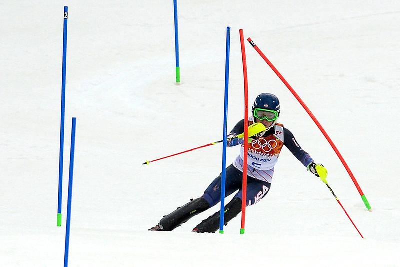 . American Mikaela Shiffrin skis during ladies\' slalom run 1. Sochi 2014 Winter Olympics on Friday, February 21, 2014 at Rosa Khutor Alpine Center. (Photo by AAron Ontiveroz/ The Denver Post)