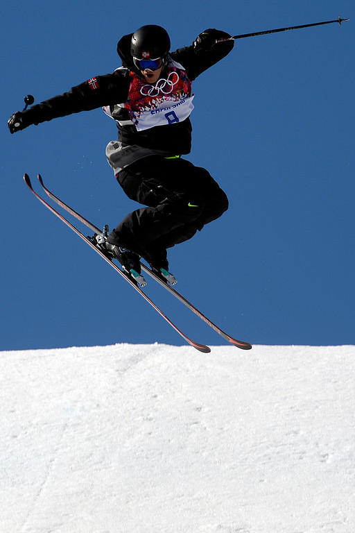 . Norway\'s Andreas Haatveit makes his final jump during the men\'s ski slopestyle final at the Rosa Khutor Extreme Park. Sochi 2014 Winter Olympics on Thursday, February 13, 2014. (Photo by AAron Ontiveroz/The Denver Post)