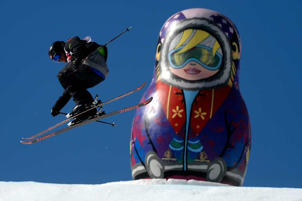 . Norway\'s Andreas Haatveit jumps during the men\'s ski slopestyle final at the Rosa Khutor Extreme Park at the Sochi 2014 Winter Olympics on Thursday, February 13, 2014. (Photo by AAron Ontiveroz/The Denver Post)
