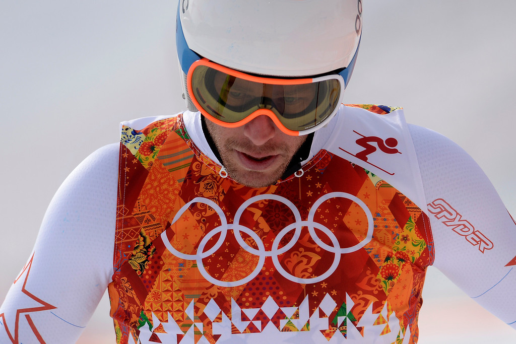 . United States skier Bode Miller crosses the finish line and reacts to not making the top three during the alpine skiing men\'s downhill final at the Rosa Khutor Alpine Resort on Sunday, February 9, 2014. (Photo by AAron Ontiveroz/The Denver Post)