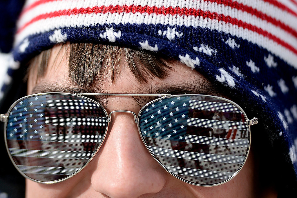 . Stephen Arlington rocks stars and stripes during the women\'s snowboard slopestyle final at the Rosa Khutor Etreme Park on Sunday, February 9, 2014. (Photo by AAron Ontiveroz/The Denver Post)