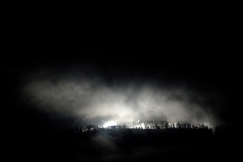 . The Laura Cross Country and Biathlon Center is covered by fog during the men\'s snowboard halfpipe semifinal during the Sochi 2014 Winter Olympics on Tuesday, February 11, 2014. (Photo by AAron Ontiveroz/The Denver Post)