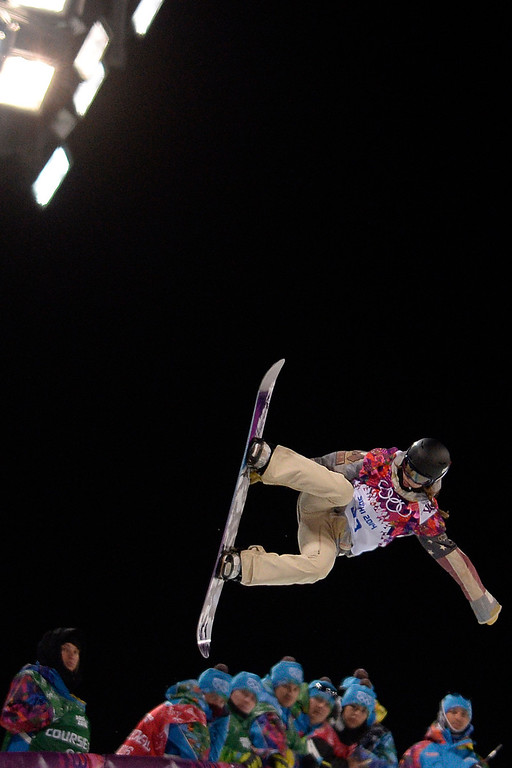 . Kaitlyn Farrington makes a run during a women\'s snowboard halfpipe final at the Rosa Khutor Extreme Park. Sochi 2014 Winter Olympics on Wednesday, February 12, 2014. (Photo by AAron Ontiveroz/The Denver Post)
