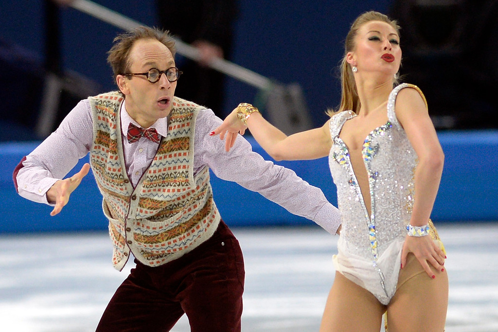 . German skaters Alexander Gazsi and Nelli Zhiganshina perform during the figure skating ice dancing free dance medal round. Sochi 2014 Winter Olympics on Monday, February 17, 2014. (Photo by AAron Ontiveroz/The Denver Post)