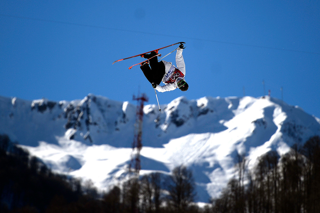 . Norway\'s Oystein Braaten rotates during the men\'s ski slopestyle final at the Rosa Khutor Extreme Park. Sochi 2014 Winter Olympics on Thursday, February 13, 2014. (Photo by AAron Ontiveroz/The Denver Post)