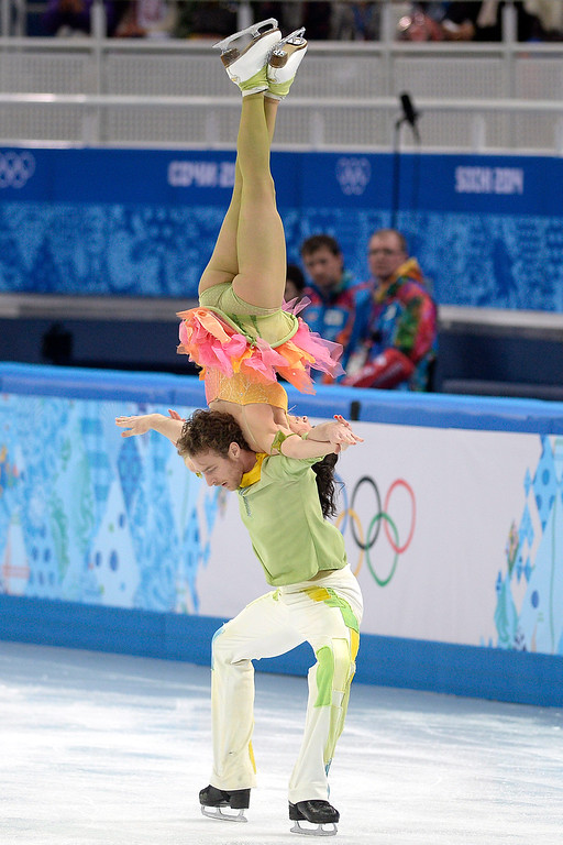 . French skaters Nathalie Pechalat and Fabian Bourzat perform during the figure skating ice dancing free dance medal round. Sochi 2014 Winter Olympics on Monday, February 17, 2014. (Photo by AAron Ontiveroz/The Denver Post)